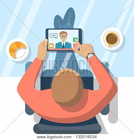 Video chat concept. Man sitting at glass table communicates using video chat on tablet computer. Online chat. Vector illustration flat design. Video conference meeting. Web chat.