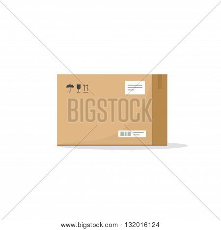 Carton box container vector illustration cardboard box pack with handling packing icons text stickers bar code closed parcel box package paper box flat cartoon design isolated on white