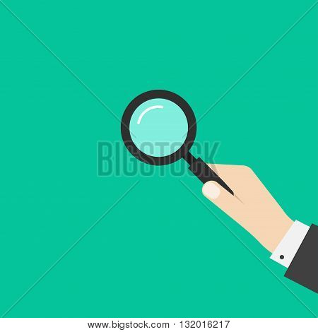 Hand holding magnifying glass vector illustration template simple black magnifier in business man hand symbol of investigation analyzing modern flat design isolated on green background