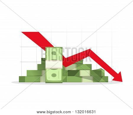 Pile of cash red recession graph with downward arrow vector illustration concept of business failure financial depression diagram reaching down analytics bad report symbol isolated on white sign