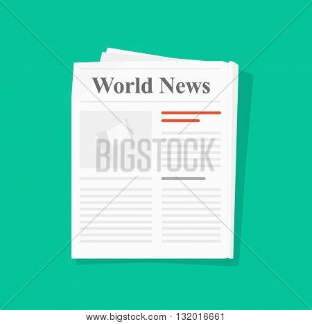 Newspaper folded vector icon news paper front page top view abstract printed text articles and headlines world news daily paper rolled journal magazine flat design illustration isolated on green poster