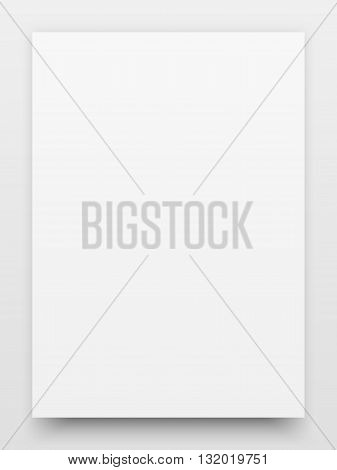 A2 white poster realistic template, mock-up with realistic shadow and light background for design concepts, presentations, web, identity, prints. Vector illustration.