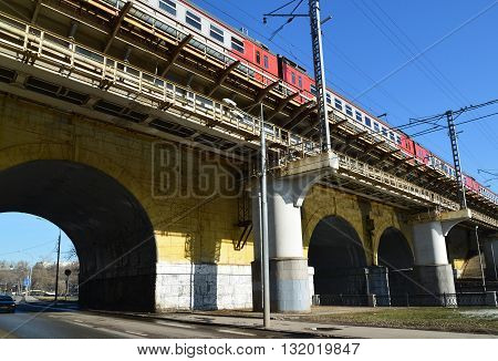 Moscow, Russia - March 10. 2016: Andronicus viaduct over the River Yauza