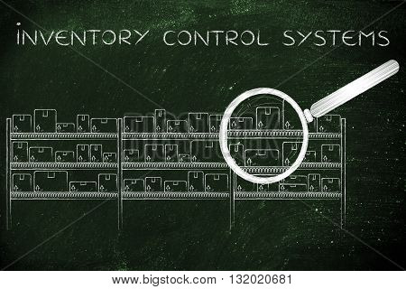 Products In A Warehouse & Magnifying Glass, Inventory Control Systems