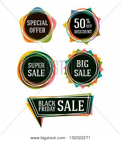 Set of stickers for best stock sales. Sale tags. Sale banners set. Vector illustration