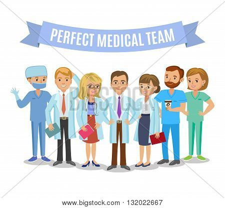 Medical team. Set of hospital medical staff. Doctors nurses and surgeon. Healthcare and medical concept. Vector Illustration