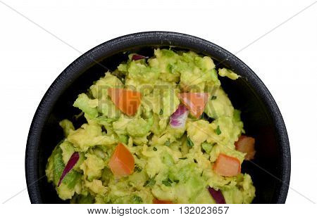 guacamole dip with tomatoes on white background