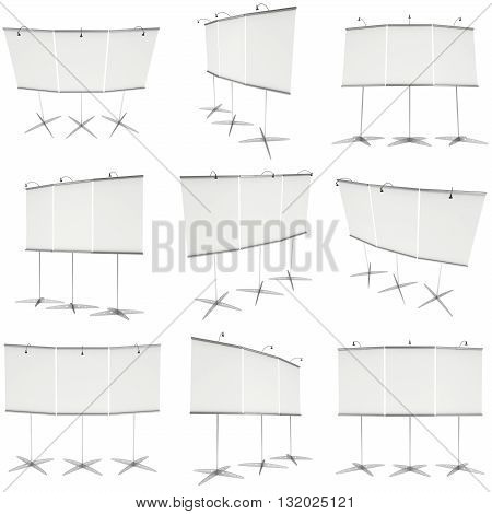Blank Roll Up Expo Banner Stand Set. Trade show booth white and blank roll-up collection. 3d render illustration isolated on white background. Template mockup roll up banner for your expo design.