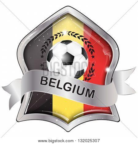 Belgium  flag elegant shiny icon / button / label with soccer ball.