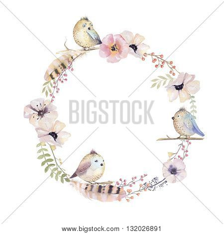 Watercolor floral wreath. Watercolour natural frame: leaves, feathers, flowers, birds. Isolated on white background. Artistic decoration illustration. Save the date , weddign design, greeting card