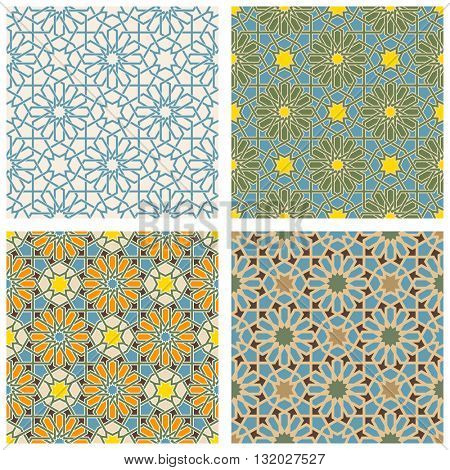 Set of Arabic seamless patterns. Pattern fills set. Oriental, arabic style. Mosaic seamless patterns. Arabic ornaments. Vector illustration.