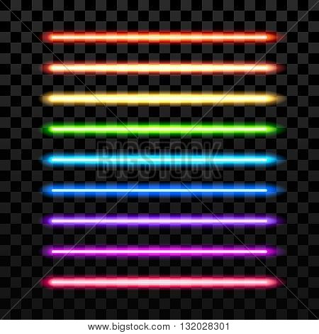 Realistic colorful laser vector beam on transparent dark background. Futuristic sword weapon. Beam laser, glowing laser, neon electric laser sword, majestic laser sword equipment illustration