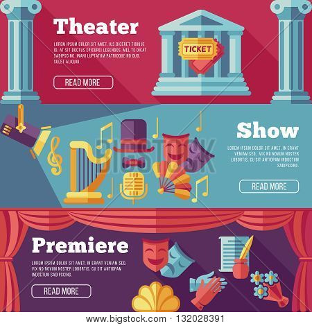 Theatre vector flat banners set. Premiere theater, show theater web page theater, banner theater, poster theater performance illustration