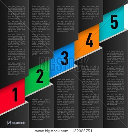 Infographics in black paper style with ascending colored numbered items from one to five poster