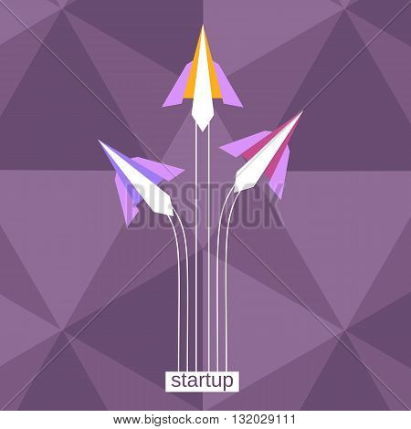 Paper planes starting to fly. Start up poster concept. Business banner template. Take off new deal concept. Launching businss Beginning new project concept. concept. Vector illustration