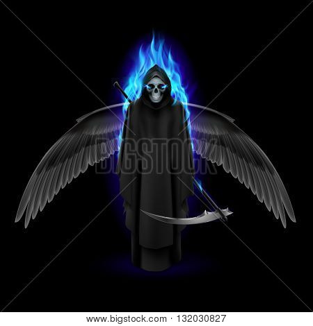 Grim Reaper with wings and blue flame