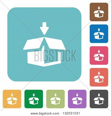 Flat pack icons on rounded square color backgrounds.