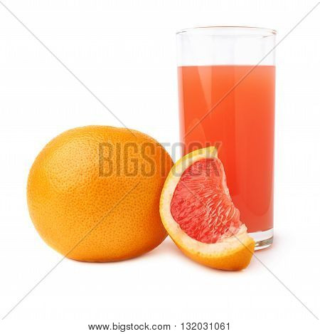 Tall glass filled with the fresh grapefruit juice and fruits, composition isolated over the white background