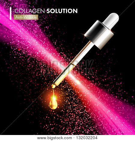 Collagen Oil serum dropper on beautiful spark pink background