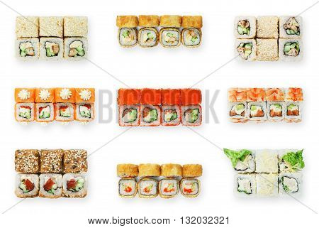 Asian food, fast food. Sushi set top view. Sushi unagi, tempura rolls california with salmon, avocado, tuna, caviar and cheese isolated at white background. Sushi rolls top view, flat lay.