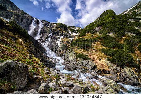 Mountain Waterfall Siklawa In Polish Tatra