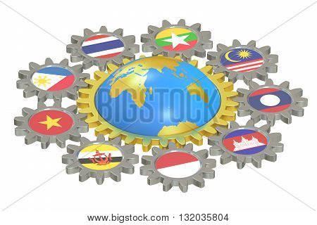 ASEAN concept with gears 3D rendering isolated on white background