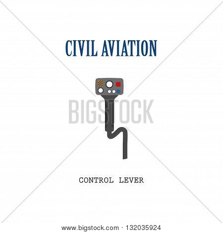 Lever control helicopter. Steering wheel of the aircraft. Vector illustration