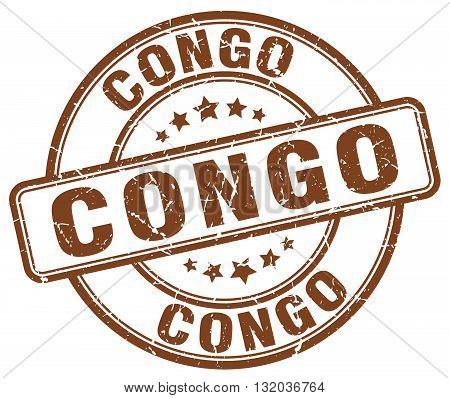 Congo brown grunge round vintage rubber stamp.Congo stamp.Congo round stamp.Congo grunge stamp.Congo.Congo vintage stamp.