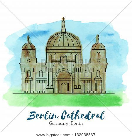 Berlin Cathedral. Landmark. Landmark Europe. Landmark capital. Landmark vector. Landmark eps. Landmark watercolor. Landmark icon. Landmark ui. Landmark art. Landmark print. Landmark picture. Landmark illustration.