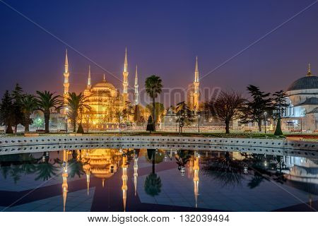The Sultan Ahmed Mosque or Sultan Ahmet Mosque is a historic mosque in Istanbul Turkey. The mosque is popularly known as the Blue Mosque for the blue tiles .