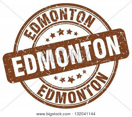 Edmonton brown grunge round vintage rubber stamp.Edmonton stamp.Edmonton round stamp.Edmonton grunge stamp.Edmonton.Edmonton vintage stamp.