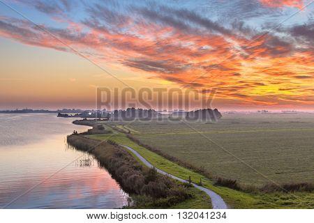 Aerial View Of Netherlands Polder Landscape