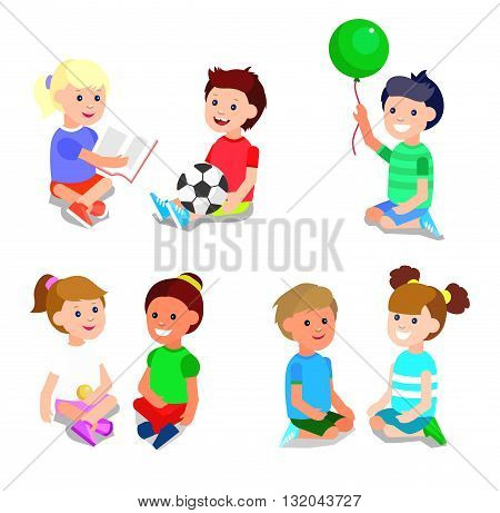 Cute vector character child playing with ball, read book . Cheerful child. Happy kid illustration. Detailed character child. Vector for Celebration children day, fun child.
