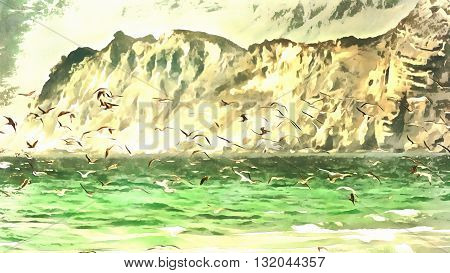 Seagulls flying over the water against the backdrop of a high cliff