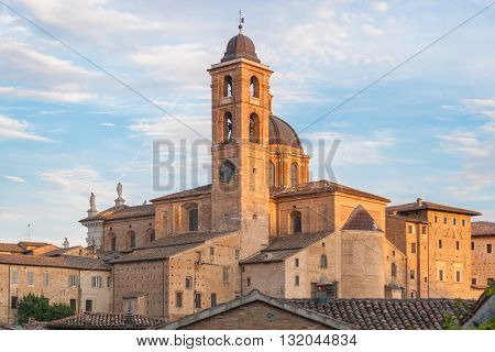 The cathedral of Urbino during the golden hour