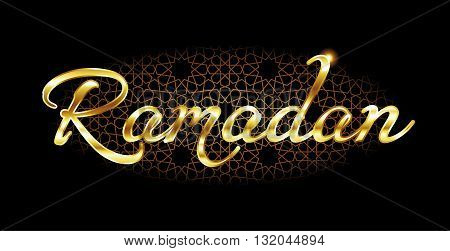 Ramadan vector illustration. Wishing -Ramadan kareem or Ramathan mubarak- means- have a blessed month of Ramadan. Ramadan -month of fasting and worshiping Allah. Black background with Islamic pattern.