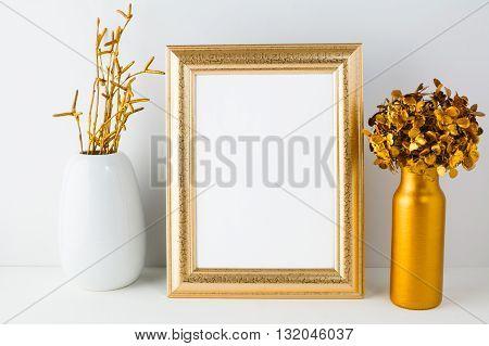 Frame mockup with golden decor. Frame mockup. Gold frame mockup