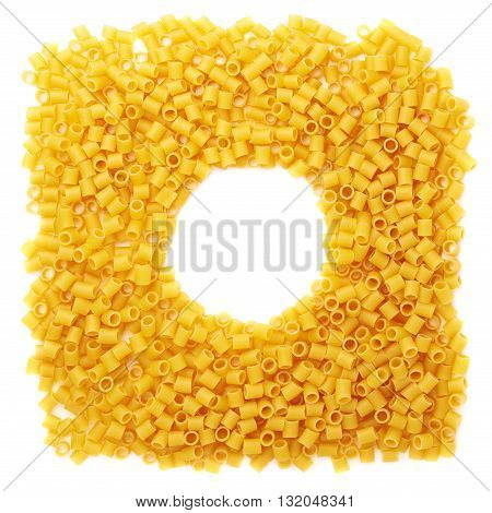 Round frame made of dry ditalini yellow pasta over isolated white background