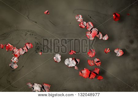 Honoring a loved one by scattering their ashes on a lake among floating rose petals
