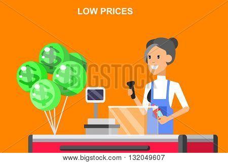 Concept illustration for Shop, supermarket. Vector character woman cashier in supermarket. Healthy eating and eco food in supermarket. Vector cash register in a supermarket