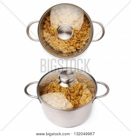 Set of metal pan with glass lid filled with dry conchiglie yellow pasta over isolated white background, different foreshortenings