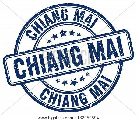 Chiang mai blue grunge round vintage rubber stamp.Chiang mai stamp.Chiang mai round stamp.Chiang mai grunge stamp.Chiang mai.Chiang mai vintage stamp.