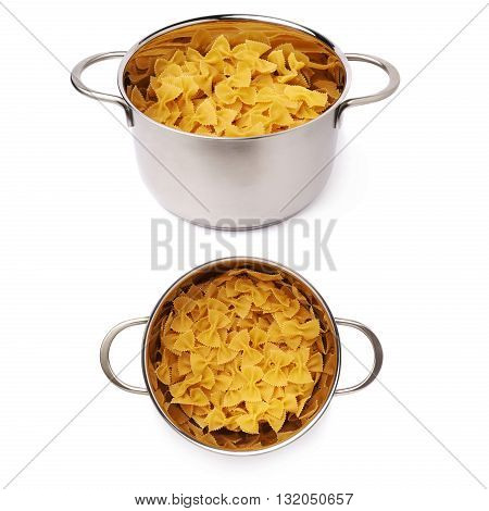 Set of metal pan filled with dry farfalle yellow pasta over isolated white background, different foreshortenings