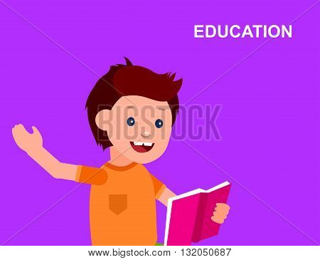 Cute vector character child. Happy kid illustration reading book. Education and child development. Banner for the kindergarten or children club, school of Arts