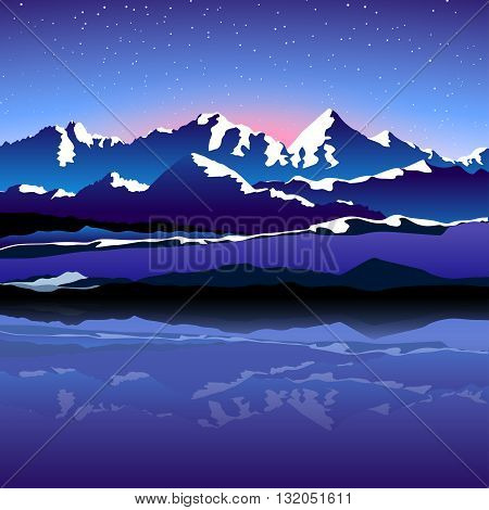 illustration of high mountains with snow edges at night