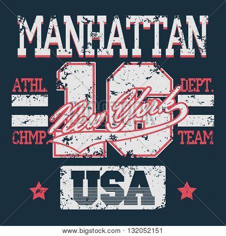 New York Sport wear typography emblem, t-shirt grunge stamp graphics, vintage tee print, athletic apparel design fashion clothes. Vector