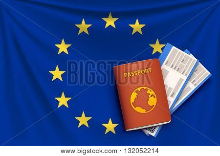 illustration of realistic flag of euro union background with folds