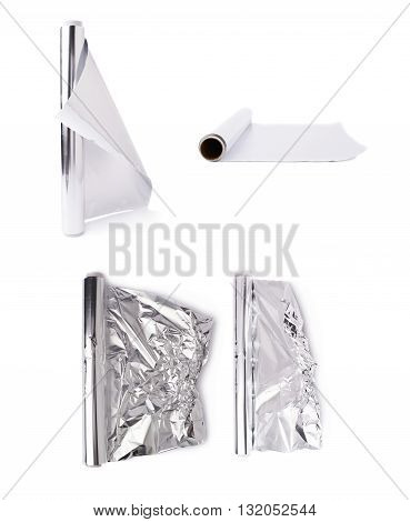 Set of roll of aluminium gray foil paper over isolated white background, different foreshortenings