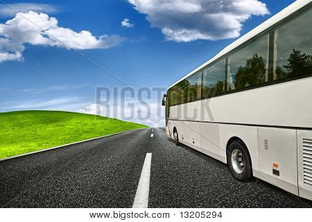 Summer Travel, white coach on the road poster