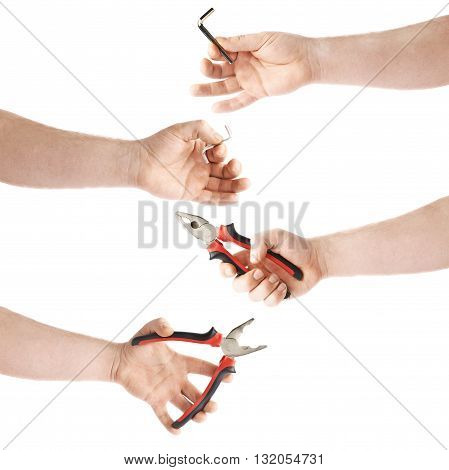 Set of worker's caucasian male hand holding working tool, composition isolated over the white background